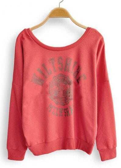 Red Long Sleeve Letters Print Pullovers Sweatshirt