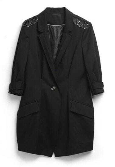 Black Notch Lapel Single Button Epaulet Trench Coat