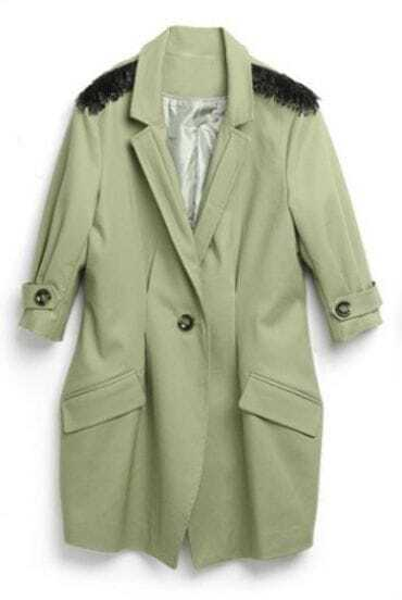 Green Notch Lapel Single Button Epaulet Trench Coat
