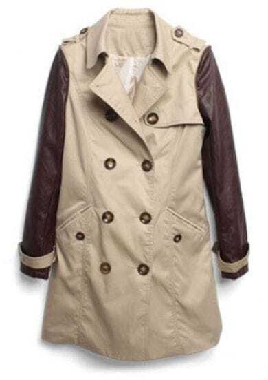 Khaki Double Breasted Leather Sleeve Trench Coat