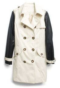 Apricot Double Breasted Leather Sleeve Trench Coat