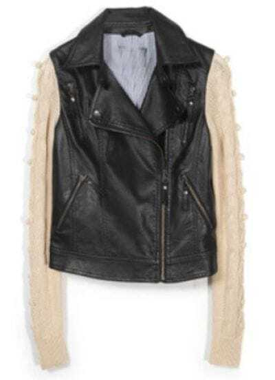 Black Long Sleeve Zipper Leather Pockets Coat
