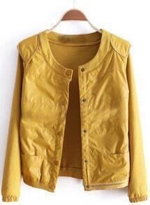 Yellow Long Sleeve Zipper Fitted PU Coat