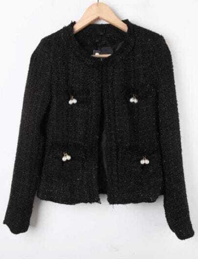 Black Long Sleeve Plaid Pearls Crop Coat