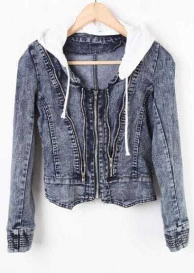 Blue Hooded Long Sleeve Zipper Crop Denim Coat