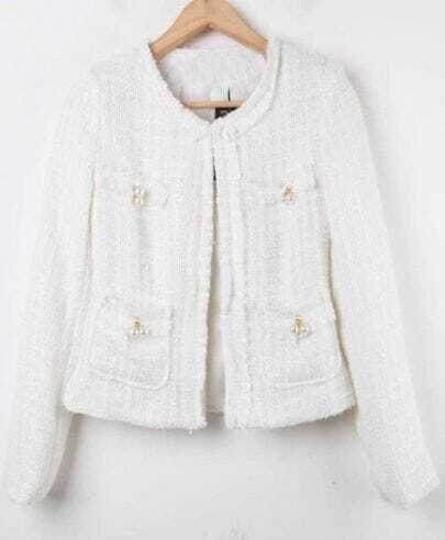 White Long Sleeve Plaid Pearls Crop Coat