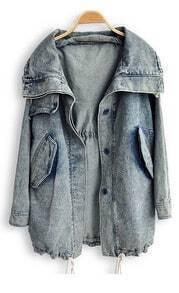 Blue Lapel Long Sleeve Pockets Denim Trench Coat
