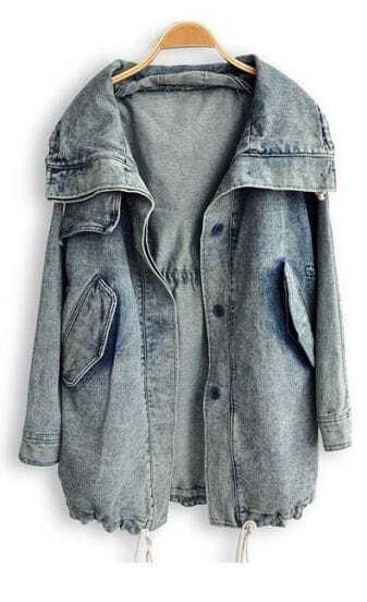 Blue Lapel Long Sleeve Pockets Denim Trench Coat