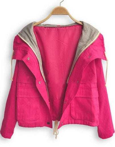 Rose Red Hooded Long Sleeve Buttons Coat