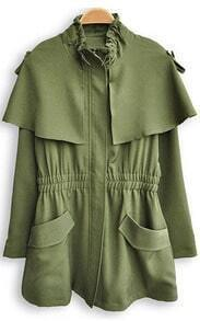 Green High Neck Elasic Waist Pleated Trench Coat