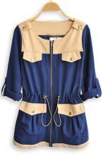Blue Long Sleeve Drawstring Waist Pockets Trench Coat