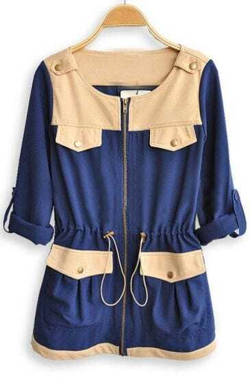 Blue Long Sleeve Drawstring Waist Pockets Trench Coat