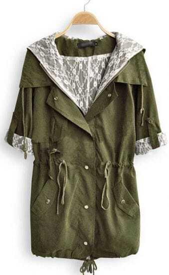 Green Hooded Long Sleeve Pockets Zipper Trench Coat