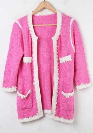 Pink Rhinestone Pearls Knitted Coat