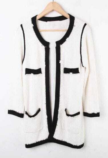 White Rhinestone Pearls Knitted Coat
