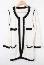 White Rhinestone Pearls Knitted Coat