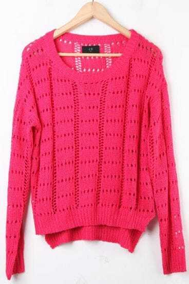 Rose Red Long Sleeve Hollow Batwing Pullovers Sweater