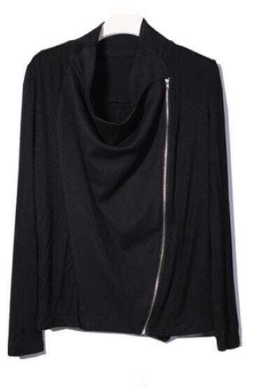 Black Long Sleeve Zipper Cotton Coat