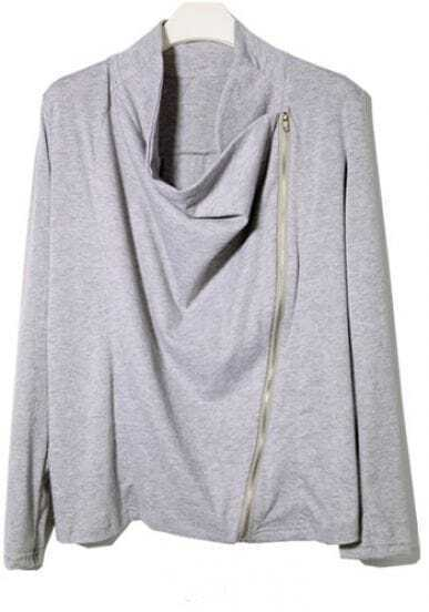 Grey Long Sleeve Zipper Cotton Coat