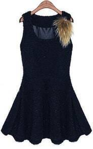 Navy Sleeveless Sequined Faux Fur Ruffles Dress