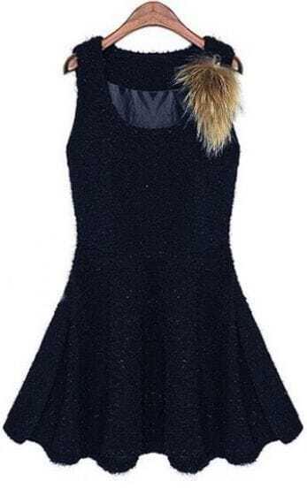 Navy Sleeveless Sequined Faux Fur Ruffles Dress