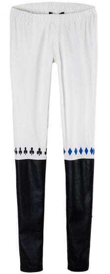 White Black Heart Print Skinny Leggings