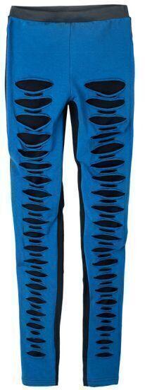 Blue Black Skinny Elasic Ripped Leggings