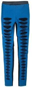 Blue Black Skinny Elasic Ripped Leggings