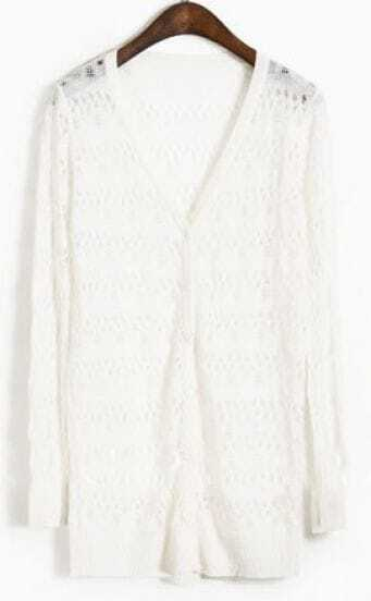 White V Neck Long Sleeve Hollow Sweater
