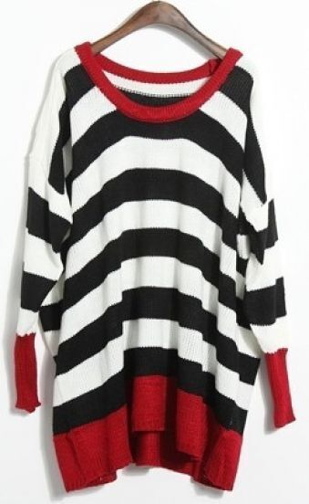 Black White Long Sleeve Batwing Pullovers Sweater