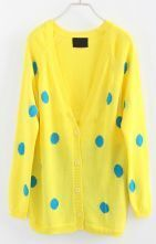 Yellow V Neck Long Sleeve Polka Dot Cardigan Sweater