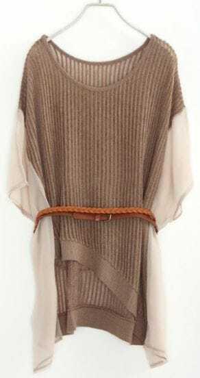 Khaki Asymmetrical Hollow Pleated Drawstring Pullovers Sweater