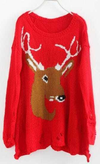 Red Long Sleeve Deer Print Ripped Pullovers Sweater