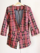 Red V Neck Plaid Single Button Pockets Suit
