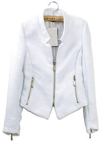 White Collarless Long Sleeve Zipper Suit