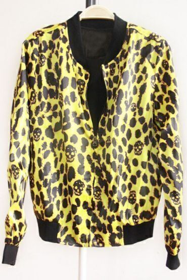 Yellow Long Sleeve Skull Print Zipper Coat