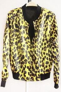 Yellow Long Sleeve Skull Print Zipper Coat