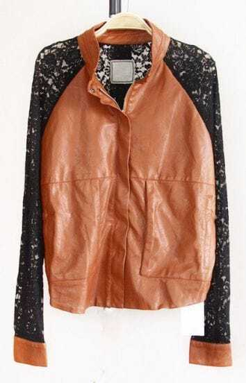 Brown Long Lace Sleeve Zipper PU Leather Coat