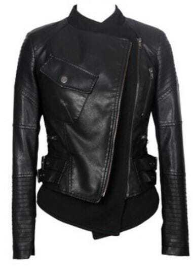 Black Long Sleeve Pockets Zipper Crop PU Leather Coat