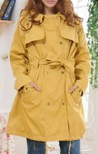 Yellow Hooded Long Sleeve Buttons Trench Coat
