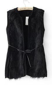 Black Sleeveless Cardigan Chest Faux Fur Vests
