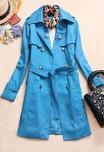 Blue Lapel Long Sleeve Drawstring Waist Trench Coat
