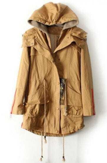 Khaki Hooded Drawstring Waist Pockets Trench Coat