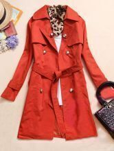 Orange Lapel Long Sleeve Drawstring Waist Trench Coat