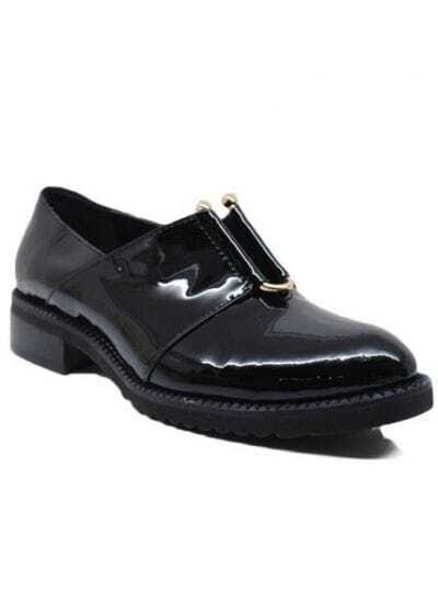 Black Almond Toe Low Heel Patent Leather Flat
