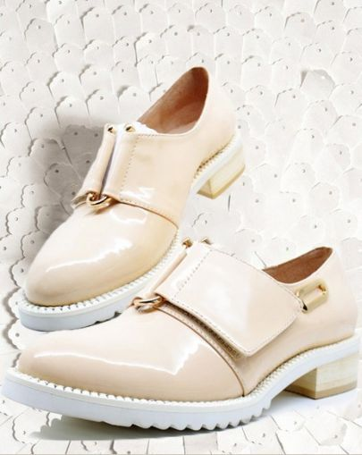 Nude Almond Toe Low Heel Patent Leather Flat