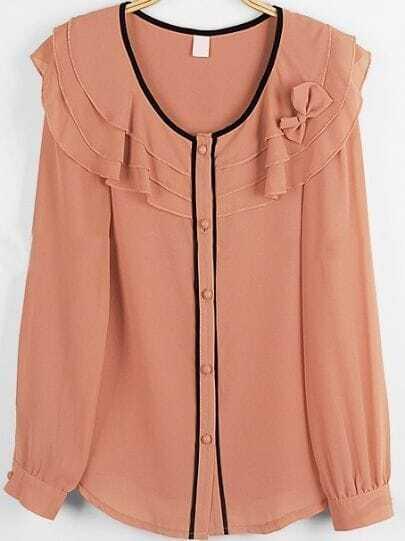 Pink Long Sleeve Cascading Ruffle Bow Chiffon Shirt