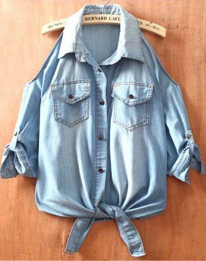 Light Blue Off the Shoulder Pockets Denim Shirt