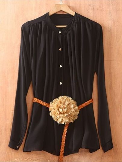 Black Long Sleeve Pleated Chiffon Shirt