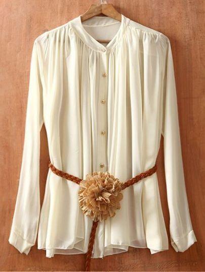 Beige Long Sleeve Pleated Chiffon Shirt